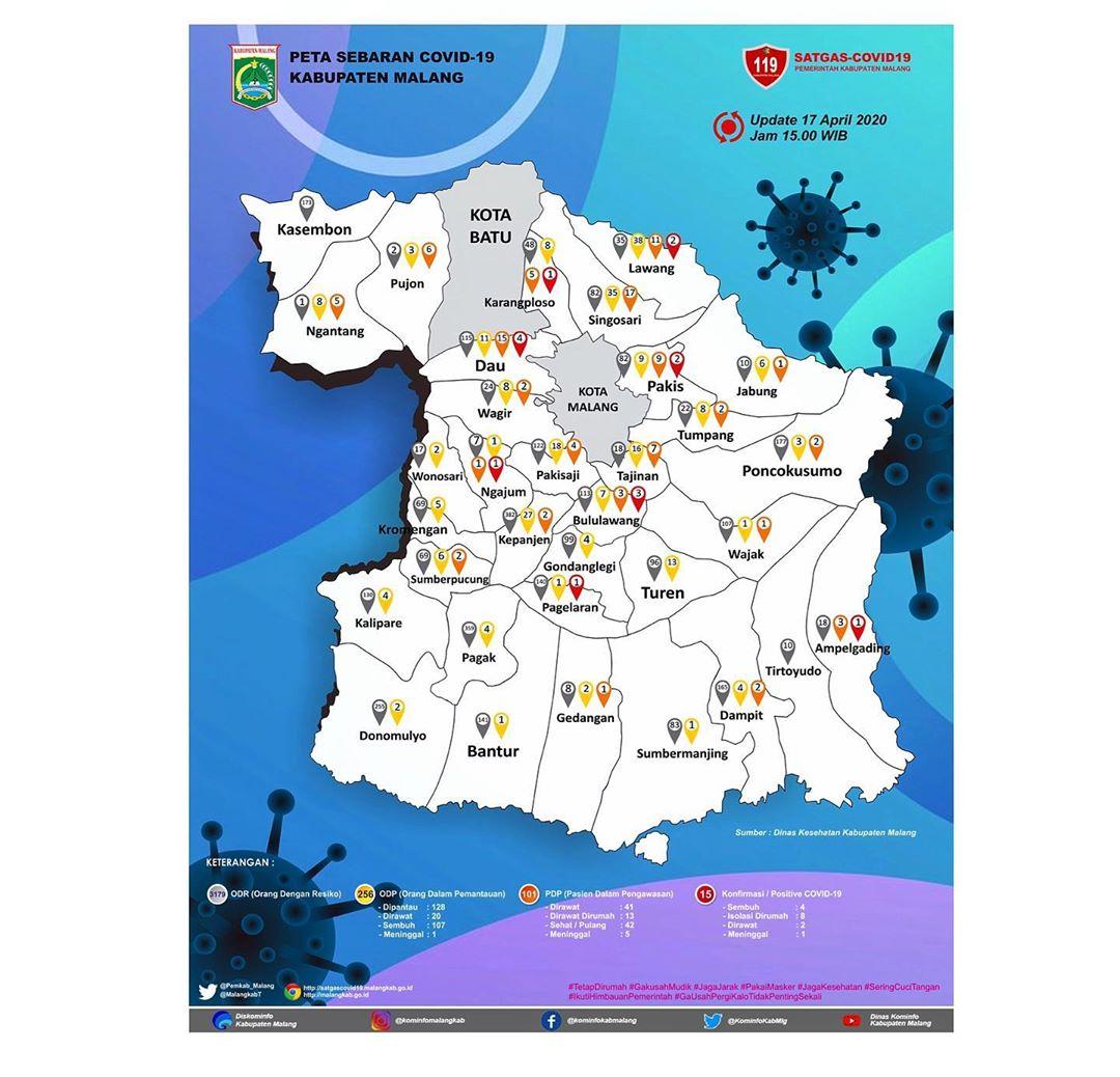 Peta Sebaran Covid 19 Kab Malang Per 17 April 2020