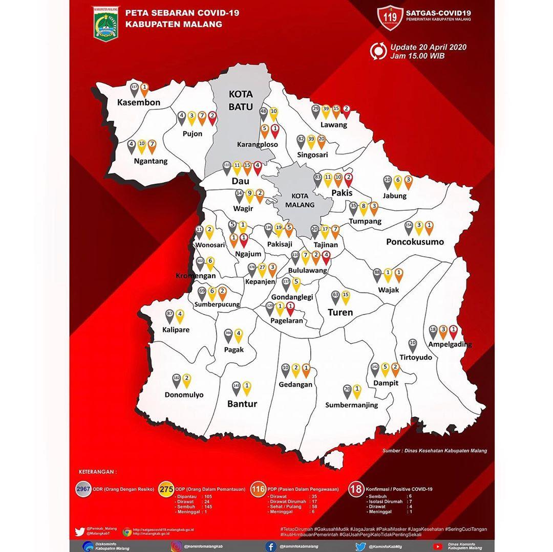 Peta Sebaran Covid 19 Kab Malang Per 20 April 2020